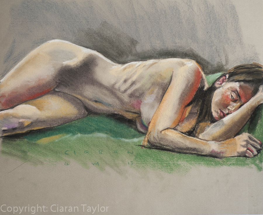 Life model Sophie, Reclining, nude