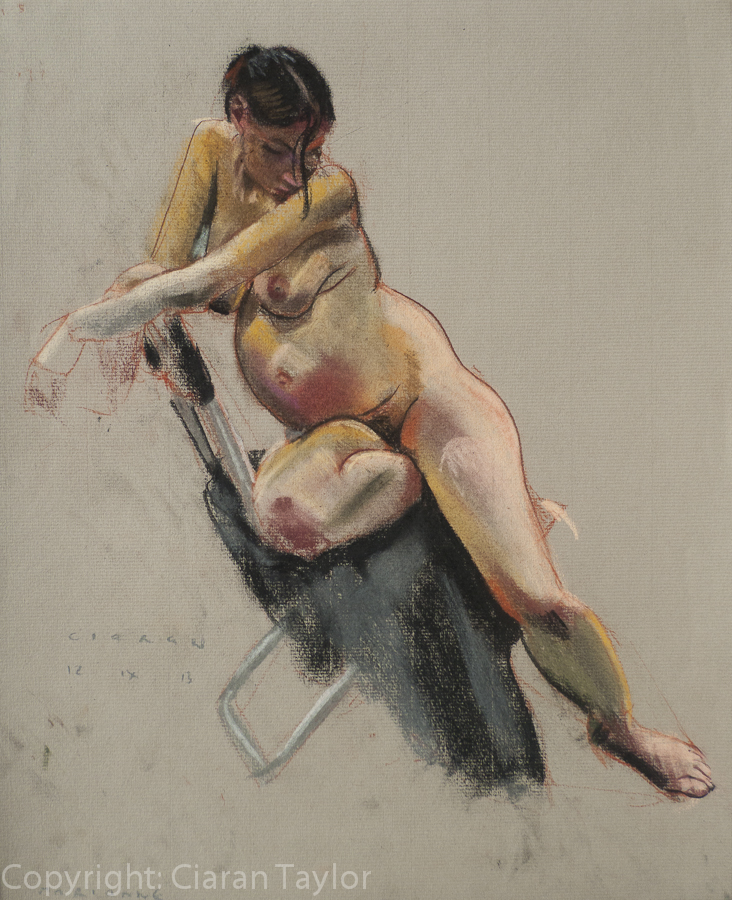 Life model Marianna Sitting, pregnant, by                     Ciaran Taylor, Irish artist. Front view, nude. Pastel