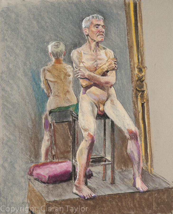 Life model Martin Sitting,  by Ciaran Taylor,                     Irish artist. Front view, nude.  Pastel