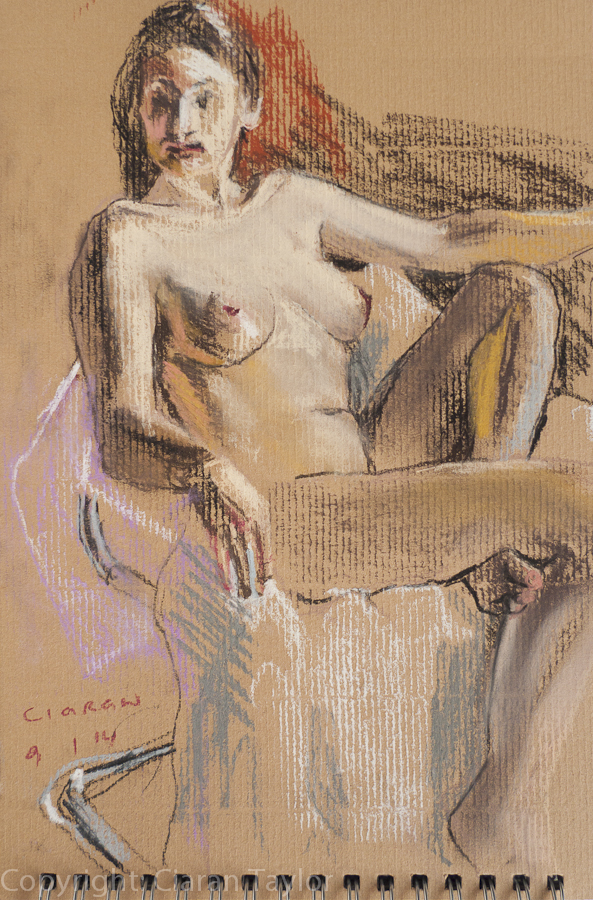 Life model Alicja, front view, nude, seated, 	    by Ciaran Taylor, Irish artist. Pastel