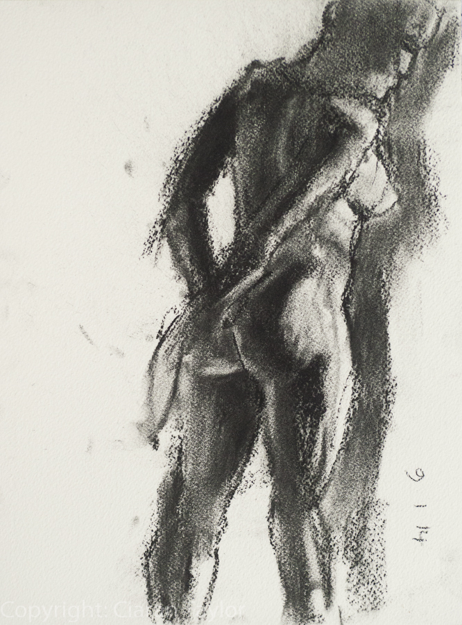 Life model Alicja, back view, nude, standing, 	    by Ciaran Taylor, Irish artist. Pastel